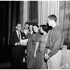Examiner Youth Forum speakers at City Council for resolution, 1958