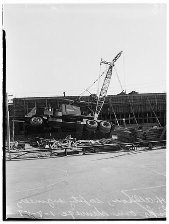 Crane on school building, 1958