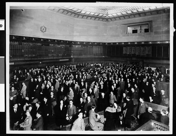 A section of the trading floor of the Los Angeles Stock Exchange, 1931