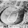 Air views of Los Angeles Coliseum, 1957