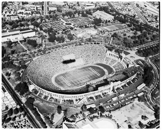 Air views of Los Angeles Memorial Coliseum, 1957