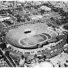 Air views of Los Angeles Memorial Coliseum, 1957