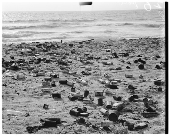 Litterbug feature (tin can beach), 1957