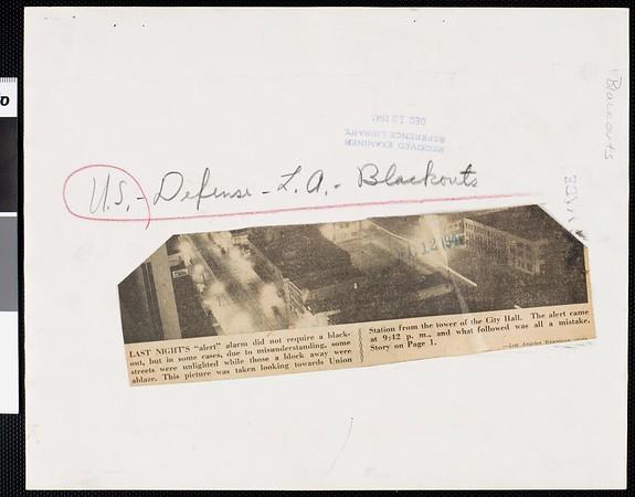 Air raid alarm. Union Station and surrounding streets, 1941