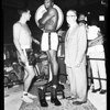 Boxing weigh in for world heavyweight fight, 1958