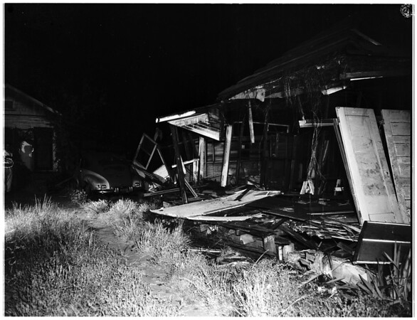 Car into house at 1140 North Ditman Avenue, 1952.