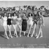 All year Swimming Club members annual New Year swim at Santa Monica Beach, 1958