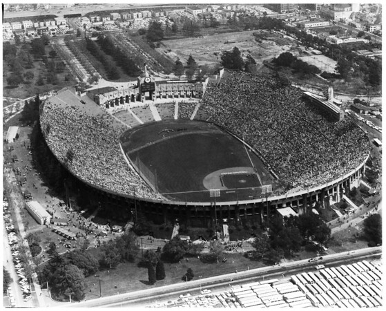 Dodgers opening day (helicopter), 1958