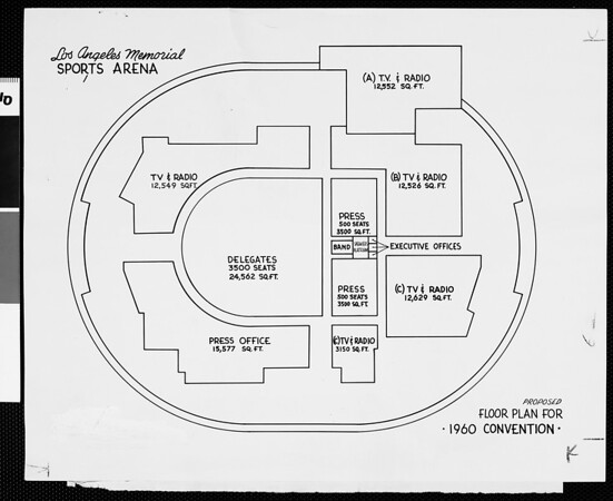 Los Angeles Memorial Sports Arena: proposed floor plan for 1960 Convention, 1959