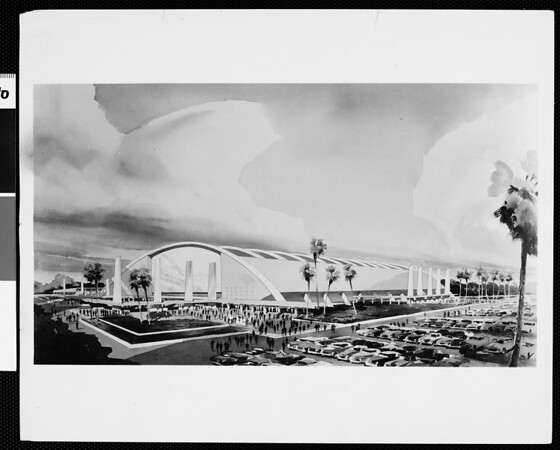Sunk into the ground, half in and half out. Stiles Clements sketch for proposed Sports Arena, ca. 1954