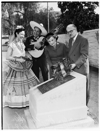 Annual observance of signing of the Treaty of Cahuenga at Campo de Cahuenga in North Hollywood, 1958