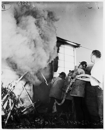 Fire at 13349-47 Orizaba Avenue, Paramount, 1952.