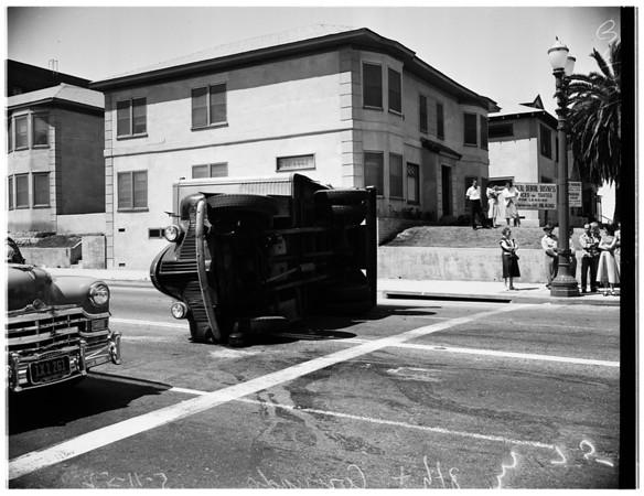 Car versus bakery truck at 8th Street and Coronado Street, 1952.