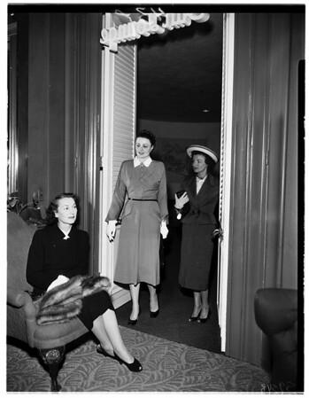 Women planning Archbishop's dinner at Beverly Hills Hotel, 1952