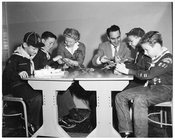 Harlan Shoemaker scouts from San Pedro (working at plastic models), 1958