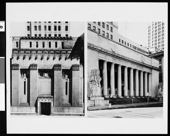 Exterior views of Los Angeles (left) and San Francisco (right) Divisions of the Pacific Coast Stock Exchange, [s.d.]