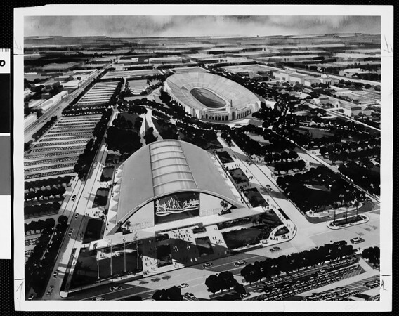 Sports Arena nearer. Stiles Clements sketch for proposed Los Angeles Sports Arena, 1956