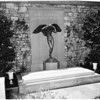 Newly erected statue over Earl Carroll's tomb (Forest Lawn), 1952.