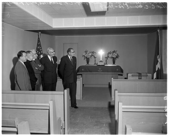 New chapel at veterans hospital (Sepulveda), 1957