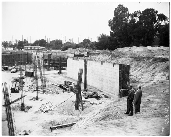 New sports arena (looking over progress made on new arena), 1958