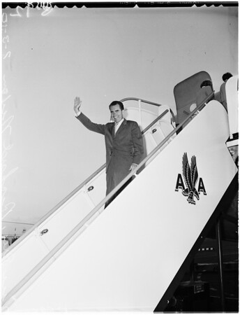 Arrival of Vice President Richard Nixon at airport with various people, 1959