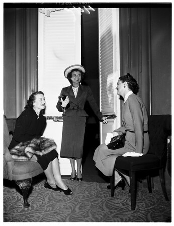 Women planning Archbishop's dinner at Beverly Hills Hotel, 1952