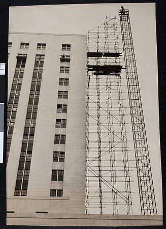 Steelworkers atop the scaffolding at the $7,280,000 Los Angeles Federal Building, 1940