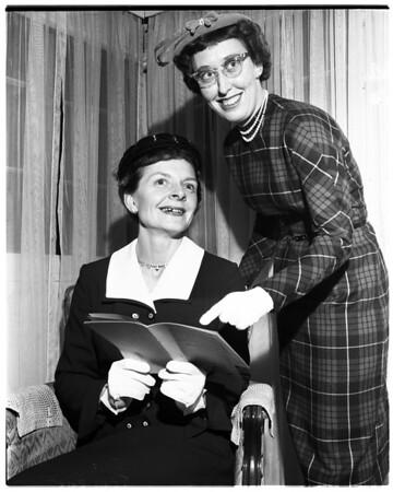 Women planning fashion show for Saint Thomas Moore School, 1958