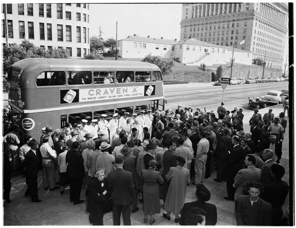 English bus at City Hall, 1952.