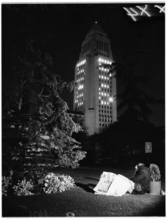 City Hall lit up for New Year, 1955