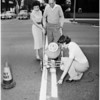 Painting white lines (with new plastic paint which dries in 90 minutes), 1955