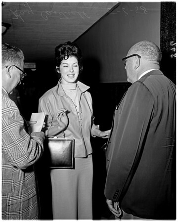 Kay Cantrell (denying rumors that she is engaged to Frank Sinatra), 1958