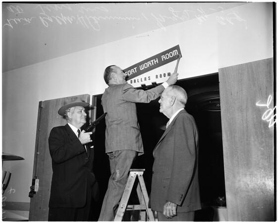 New sign above Dallas Room (Statler Hotel), 1954