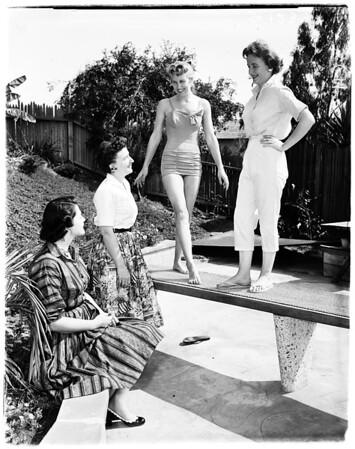 Women from Mormon Church planning fashion show, 1958