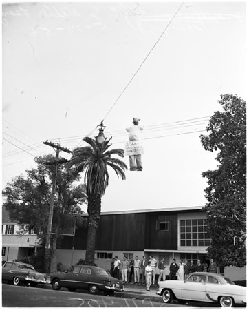 Effigy hanging on University of Southern California's fraternity row, 1956