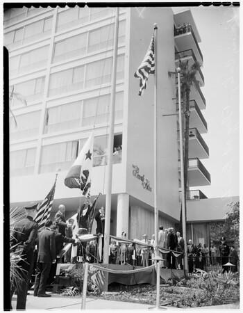 Nixon flag raising at Beverly Hilton Hotel, 1955