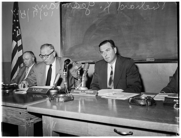 Los Angeles City Fire Commission hearing on segregation, 1954