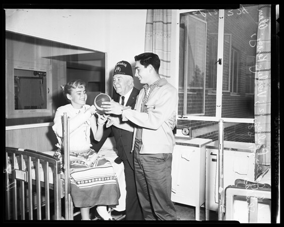 Football -- Shrine High visits to hospital, 1958