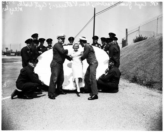 County Fire Department Dance Queen (demonstrating fire net), 1958