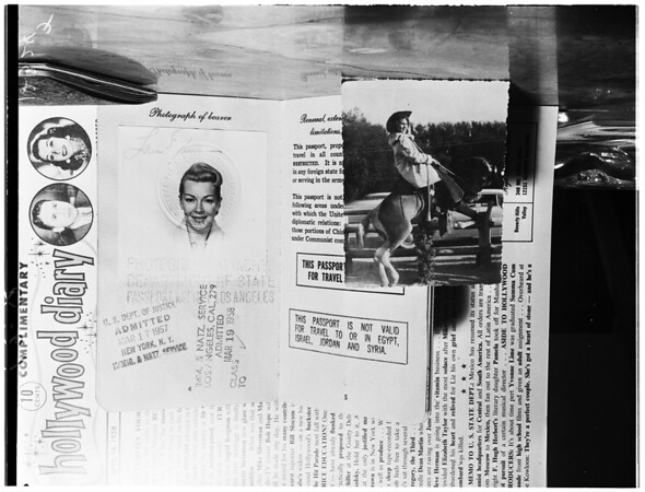 Copy of passports issued to Lana Turner and Johnny Stompanato, 1958