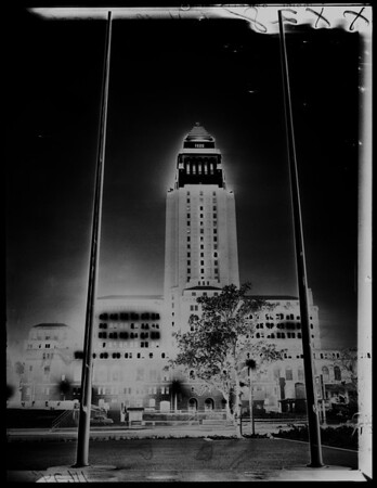City Hall lit up for Christmas, 1955