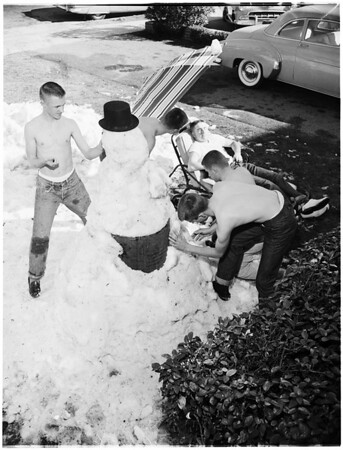 University of Southern California Fraternity Chi Phi House snowman, 1955
