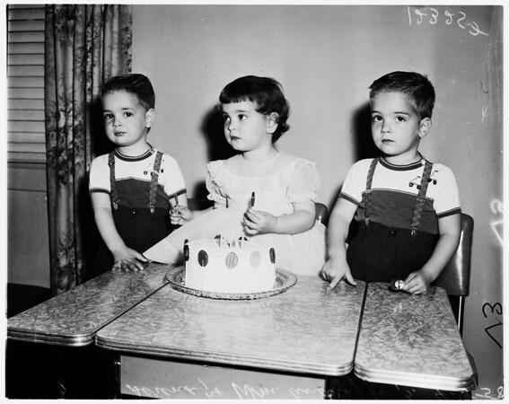 Triplets' birthday, 1958