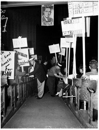 Mock Democratic National Convention at University of Southern California (Bovard Auditorium), 1956