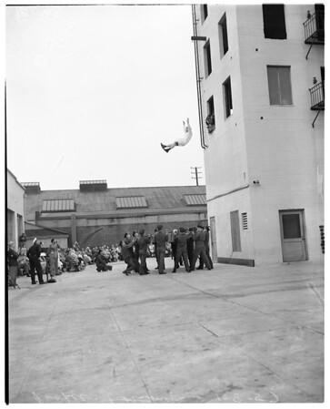 Rookie firemen graduate (demonstration), 1957