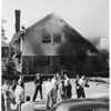 Fire at University of Southern California's Theta Chi House, 1955