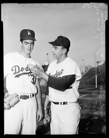 Baseball Dodgers new player, 1958.