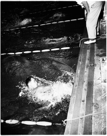 Swimming -- International invitational swim meet, 1500 meter freestyle, 1958