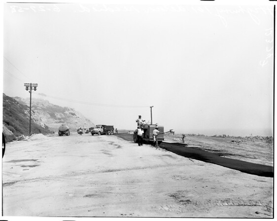 US Highway 101 being readied (after landslide), 1958