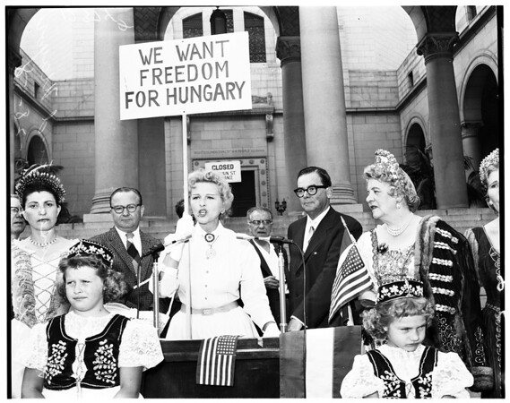 Hungarian demonstration (on steps of City Hall), 1958